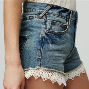 Free People Lace Distressed Jean Shorts Size 24